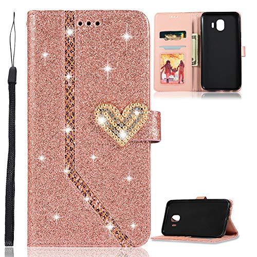 ZCXG Kompatibel mit Handyhülle Samsung Galaxy J4 2018 Hülle Leder Rose Gold Glitzer Flip Dünn Tasche mit Diamant Schnalle Magnet Kartenfach Brieftasche Mädchen Hülle Silikon Schwarz Innere Klappbar