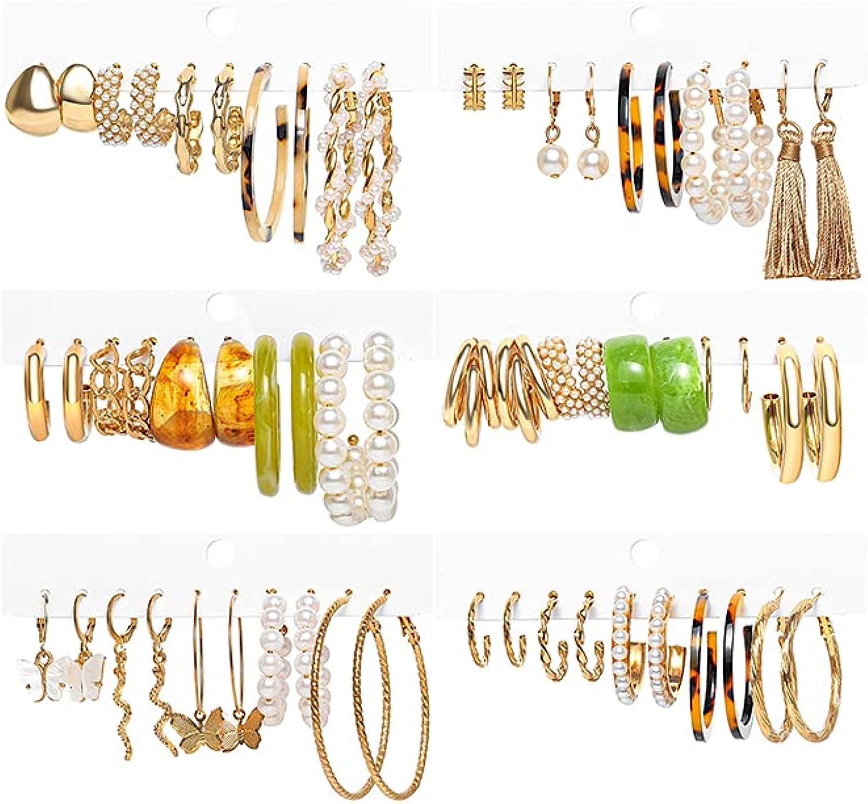 Assorted Multiple Stud Earrings for Women Girls,30 Pairs Boho Earings Set,Pearl Hoop/Fashion Tassel/Butterfly Hoop Earrings,Acrylic Hoop Dangle Earrings Set