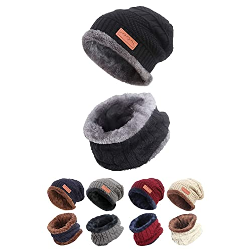 ecb39b9ba6d STYLE SLICE Fleece Lined Hat and Scarf Sets Mens Womens Unisex Knitted -  Beanie Circle Loop