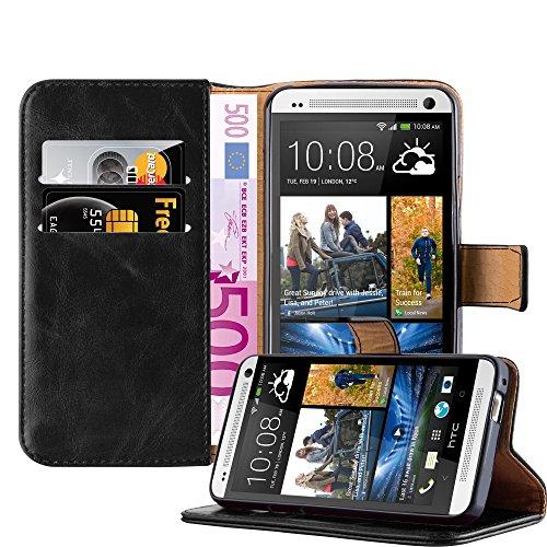 Cadorabo Hülle für HTC ONE M7 - Hülle in Graphit SCHWARZ – Handyhülle im Luxury Design mit Kartenfach und Standfunktion - Case Cover Schutzhülle Etui Tasche Book
