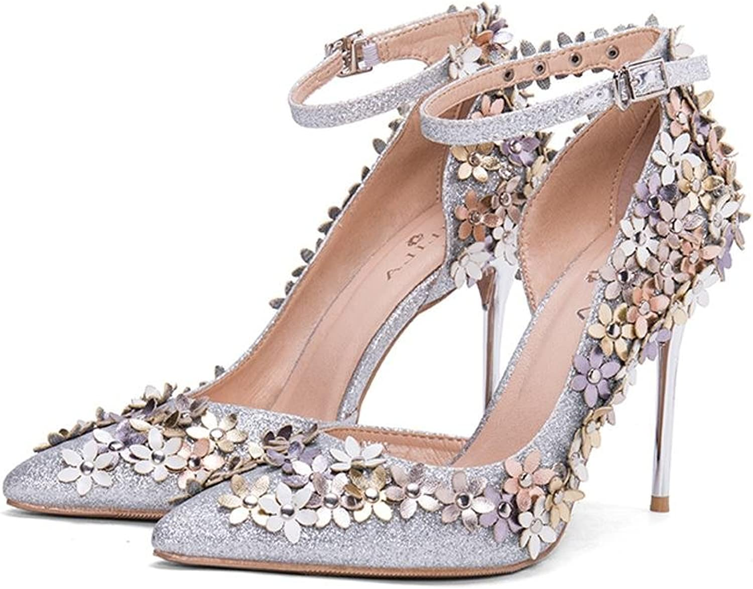 L@YC Women Sequins High Heels Summer Fine with The Tip of The Word Ladies with Sandals Side Empty Flower Dress shoes