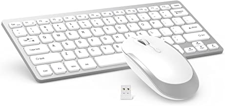 Wireless Keyboard Mouse, Jelly Comb 2.4GHz Ultra Thin Compact Portable Small Wireless Keyboard and Mouse Combo Set for PC, Desktop, Computer, Notebook, Laptop, Windows XP/Vista / 7/8 / 10 (Silver)