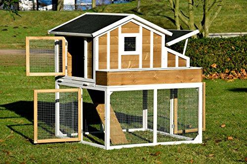 dobar 23033FSC Großer dekorativer Hühnerstall oder Kleintierstall XL mit Freigehege, Pflanzkasten und Legebox, 126 x 128 x 143 cm, weiß-braun-schwarz - 4