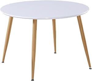 Menzzo Table scandinave Nina Bois laqué Blanc, MDF, 110x110x76 cm