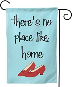 HOOSUNFlagrbfa There is No Place Like Home Red High Heels Garden Flag Yard Decorations Flag for Outdoor Use 100% Waterproof Polyester Flag 12 x 18 Inch