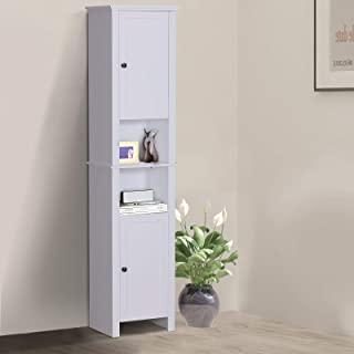 Tidyard 67 Inches Bathroom Storage Cabinet with 2 Organizing Shelves Wood Free Standing Linen Tower Display Shelf for Kitchen Living Room Bathroom Bedroom Home Furniture Decor White