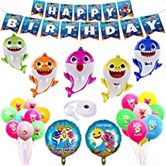 [ Package Includes ] 19 x 26 Inch Baby shark, Mommy shark, Daddy shark, Grandma shark,Grandpa shark Balloons and 17.5 Inch big baby shark family duplex prints foil round balloons,Latex Balloons,Happy Birthday Banner. [ Reusable ] Shark balloons color...
