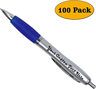 Promotional Items - 100 Pack Ballpoint Personalized Gel Ink Pens - Click action - Custom - Blue writing - Printed Name - Imprinted - Your Logo/Message - FREE PERZONALIZATION