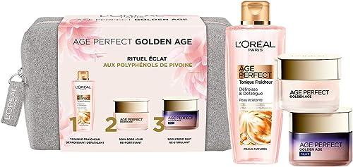 L'Oréal Paris - Age Perfect Golden Age - Coffret Rituel Éclat & Anti-Relâchement - Soin de Jour, Soin de Nuit & Lotio...