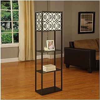 -Lampe de solon Lampadaire avec étagères, 3 couches Affichage étagères Lampadaire, Chambre Salon LED Canapé d'économie d'é...