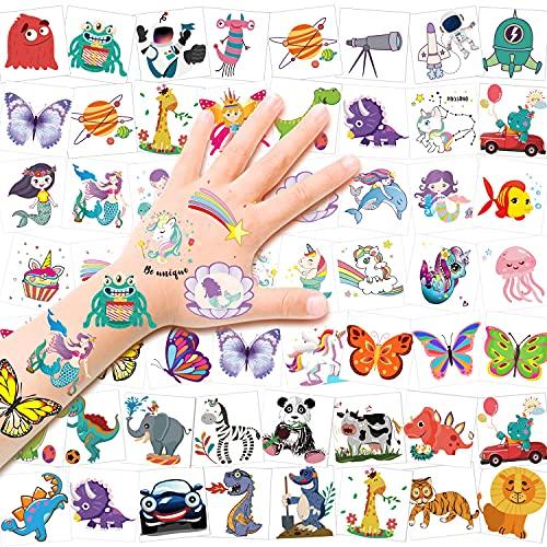 HOWAF 96pcs Tatuajes temporales para niños,Falsos Tatuajes Animados de Estilo Mixto,Unicornio,Sirena,Mariposa,Animal,Dinosaurio,Espacio Coche,Fiestas Infantiles cumpleaños niños Regalo Navidad piñata