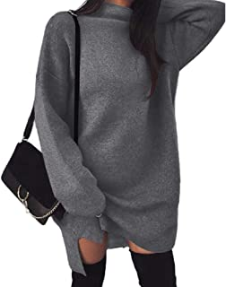 Howely Women's Long Sleeves Casual Loose Knit High Neck Sweater Dress