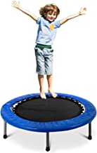 Giantex Mini Fitness Trampoline for Adults and Kids, 38 Inch Rebounder Trampoline, with Padding & Springs Elastic Safe for Indoor Outdoor Exercise Workout, Foldable Exercise Trampoline