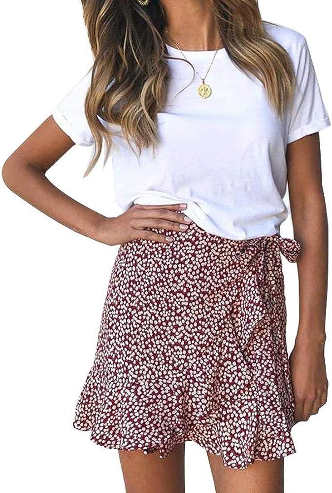 Same day shipping YYW Womens Leopard Asymmetrical Ruffle C Waist High Cute Printed Cheap mail order shopping