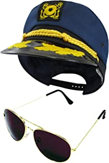 Yacht Boat Captain Hat Sailor and Aviator Sunglasses, Navy Blue Gold, One Size