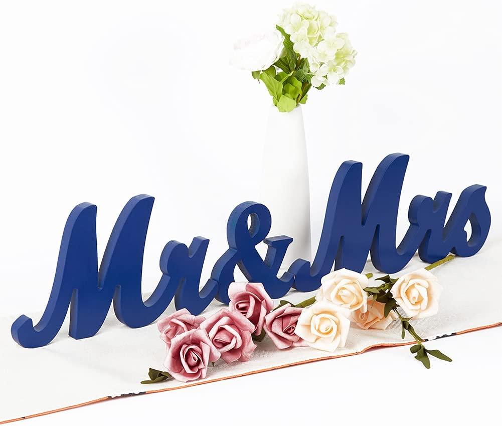 Adeeing Mr and Mrs Sign for Wedding Table Wooden Wedding Signs Sweetheart Table Decorations Large Mr & Mrs Wood Letters Just Married Sign for Vintage Wedding Anniversary Party Decor (Navy Blue)