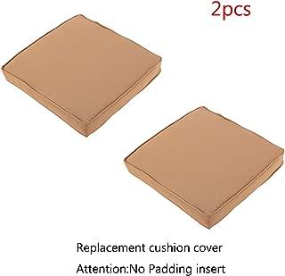 Do4U 2 Pcs Rattan Wicker Outdoor Dining Chairs Cushion Cover (2 Pcs Dark Brown Cushion Cover)