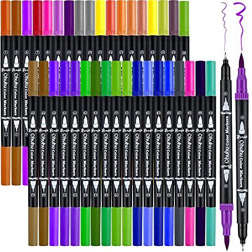 Pinselstifte Filzstifte Doppelseitig, Ohuhu 36 Farben Dual Brush Pen Set Stifte Set, Wasserbasis Marker Textmarker Stifte für Kalligraphie Zeichnung Skizzieren Malbuch Stifte Art Projekte