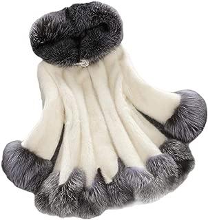 Macondoo Women's Elegant Plus Size Plush Hooded Outwear Pea Coat