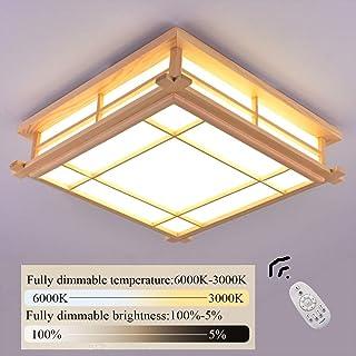 Luz de techo LED Lámpara de tatami Lámpara de madera maciza Lámpara de dormitorio japonesa de madera Con control remoto Lámpara de salón regulable de madera Iluminación interior Luz de la habitación