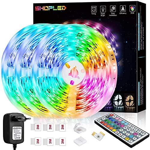 Striscia LED 18M, SHOPLED RGB SMD 5050 Kit per Cambio Colore Luci con Telecomando a 44 Tasti e Alimentatore, per Camera da Letto, Cucina, TV, Feste