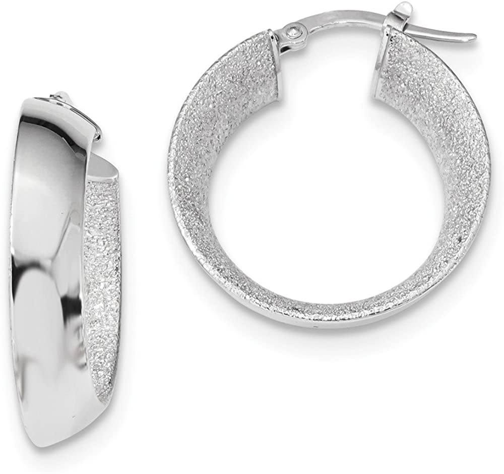 14k White Gold Laser Textured Hoop Earrings Ear Hoops Set Round Fine Jewelry For Women Gifts For Her