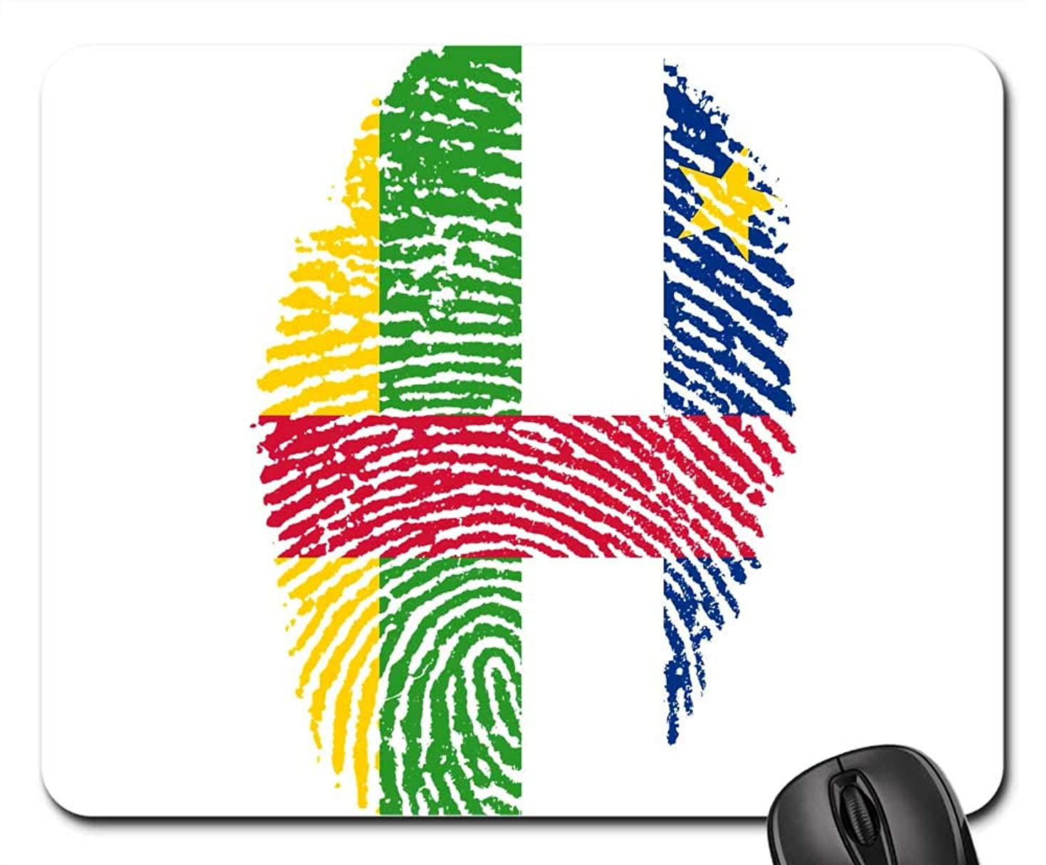 Mouse Pads - Central African Republic Flag Fingerprint Country