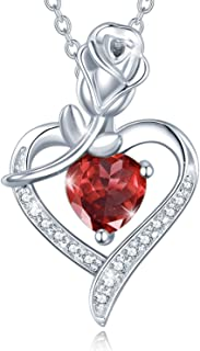 Fine Jewelry Birthstone Necklaces for Women Sterling Silver Genuine or Created G