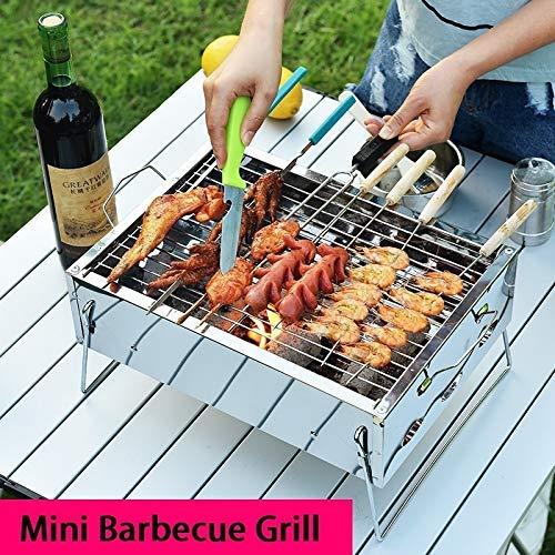 Soul hill Mini portátil Barbacoa Parrilla de carbón de Acero Inoxidable Plegable Estufa Barbacoa Kebab asadera for 3 Personas Camping al Aire Libre de la Comida campestre (Color: Plata)