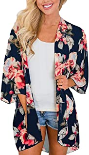 Fankle Women's Beach Cover up Chiffon Boho Floral Print Summer Cardigans Kimono Loose Shawl Top Blouse Beachwear