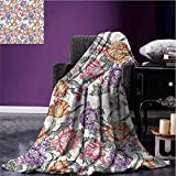 Stevenhome Floral Camp Chair Blanket Vintage Colorful Flowers and Curls on White Background Romantic Spring Pattern Print All Season Blanket Multicolor