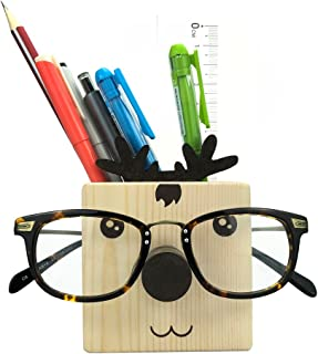 Z.N.Z Wooden Cute Animal Shaped Multi Purpose Use Holder Organizer for Novelty Eyeglass Holder Cell Phone Stand Pencil Stationery (Elk)