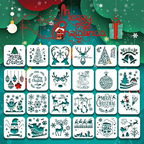 24Psc Christmas Stencils Template,6inch Drawing Stencils Reusable Stencils for Painting Christmas Snowflakes Snowmen for Planner/Diary/Card/DIY Drawing Painting Craft Projects