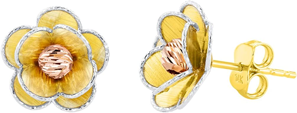 14K Tri Color Gold Textured Blooming Flower Stud Floral Earrings, 12.5mm
