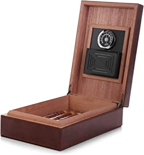 MEGACRA Cedar Cigar Humidor, Leather Cigar Box with Hygrometer and Humidifier Portable Travel Cigar Humidor Holds 10-20 Cigars