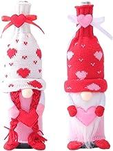 Pluche wijnfleshoezen decoratie 2 stuks, handgemaakte anonieme pop wijnhoezen valentines knuffels cadeau voor kinderen vol...