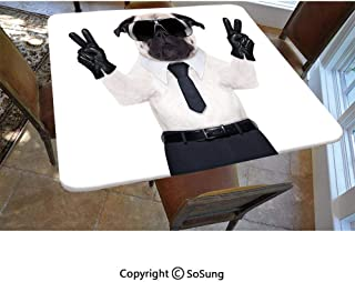 Pug Polyester Fitted Tablecloth,Fancy Looking Pug Victory Sign with Both Paws Wearing Cool Black Sunglasses Animal Fun Decorative Square Elastic Edge Fitted Table Cover,Fits Square Tables 48x48 Black