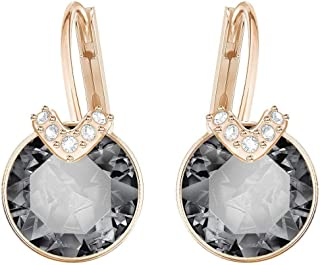 SWAROVSKI Women's Bella V Crystal Earrings Collection, Gray Crystals, Pink Crystals, Clear Crystals