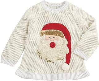 Kids Girls Christmas Alpine Village Santa Ivory Sweater