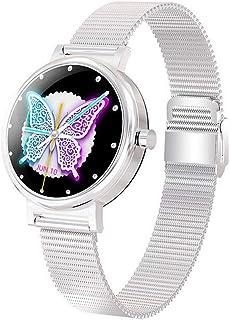 YP Pulsera Deportiva Bluetooth,Mujer,Hommie Reloj Inteligente Mujer1.3 Táctil Completa,Pulsera Actividad Mujer,Monitor de Sueño,Seguimiento del Menstrual,recordatorio fisiológico,Plata
