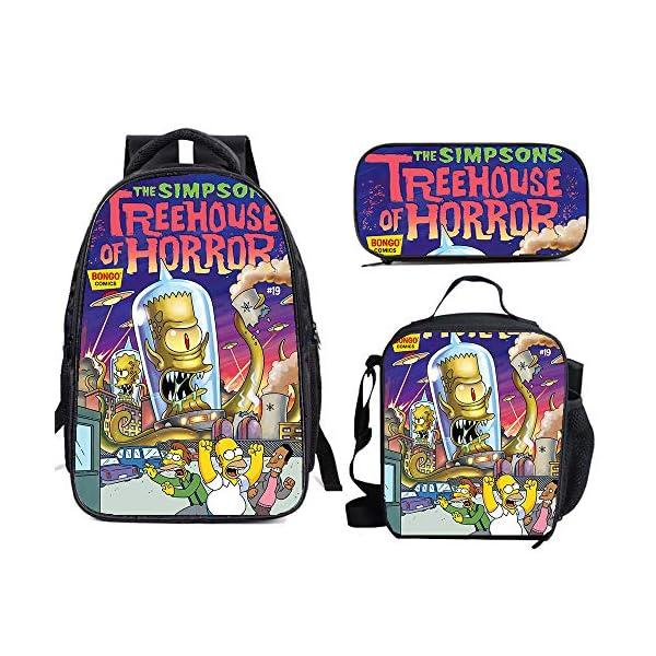 61KC0zeTdEL. SS600  - The Si-mps-ons - Juego de mochila escolar con bolsas de almuerzo y estuche ligero para viaje para niños y niñas