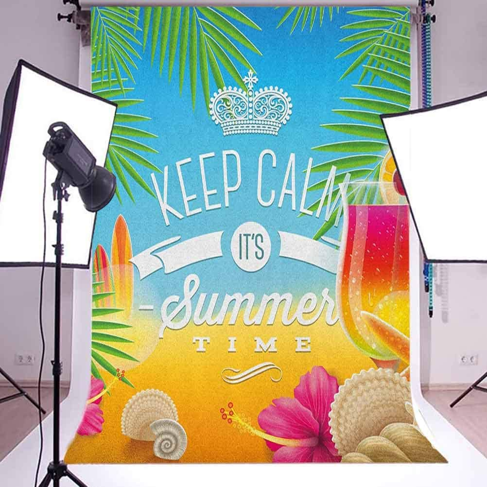 8x12 FT Vinyl Photography Background Backdrops,Colorful Minimal Doodle Lighthouse Beach Sea Waves Sand Hat Slippers Cloudy Day Background for Selfie Birthday Party Pictures Photo Booth Shoot