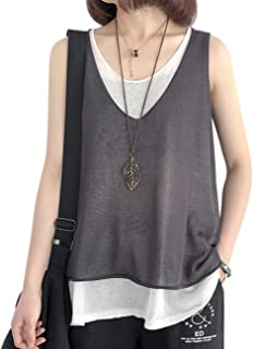 YESNO Women Casual Loose Cute Knit Summer T-Shirts Color Block Fake 2 Pieces Sleeveless Tank Tops Y0N