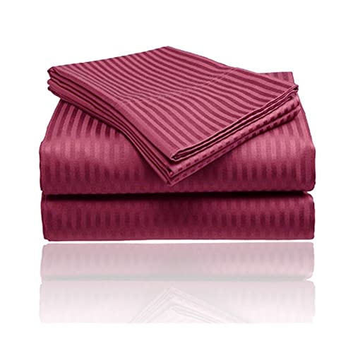 1800 Series Embossed Egyptian Striped 4-Piece Sheet Set Queen - Burgundy