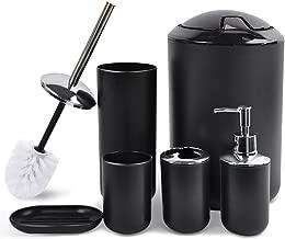 CERBIOR Bathroom Accessories Set 6 Piece Bath Ensemble Includes Soap Dispenser, Toothbrush Holder, Tumbler, Soap Dish for Decorative Countertop and Housewarming Gift, Black