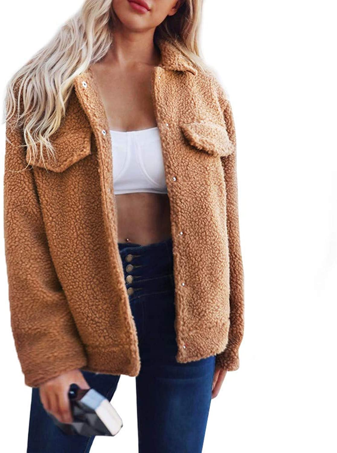 Womens Ladies Cardigan Coat Button Pockets Solid Jacket Winter Parka Outerwear Fashion Cosy Wild Tight Super Quality for Womens (color   brown, Size   XXL)