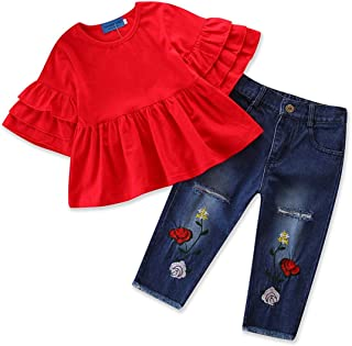 2Pcs Toddler Baby Girls Ruffle Tops Flower Distressed Denim Pants Outfit Set
