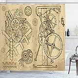ABAKUHAUS Steampunk Duschvorhang, Handgezeichnete Maschinen, mit 12 Ringe Set Wasserdicht Stielvoll Modern Farbfest & Schimmel Resistent, 175x200 cm, Dunkelbraun & Beige