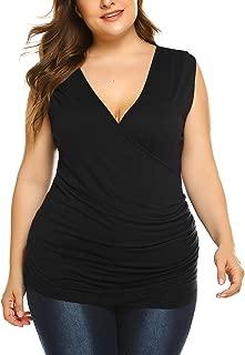 IN'VOLAND Women Plus Size Tank Tops Wrap Casual Tunics Blouses Shirts V Neck Drape Sleeveless Sexy