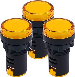 TWTADE/ 3Pcs AC/DC 24V Yellow Energy Saving LED Indicator Light, Signal lamp, Flush Panel Mount 7/8